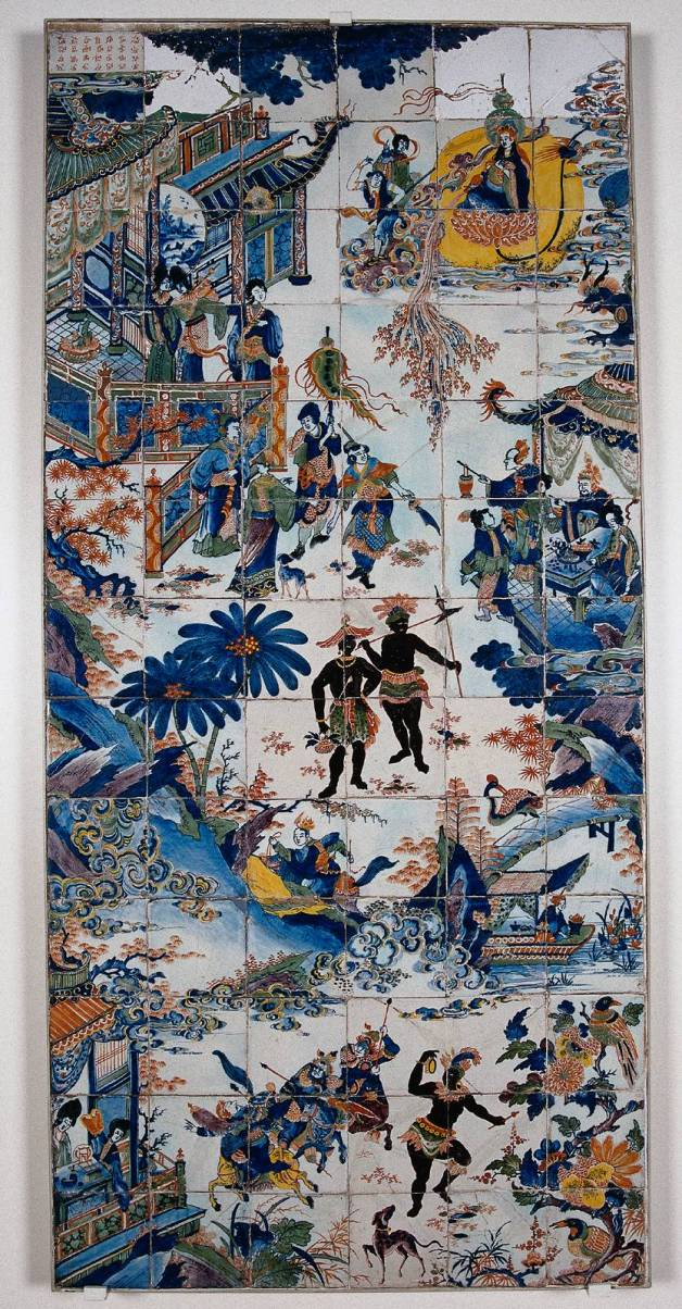 Chinoiserie tiles with Africa figures